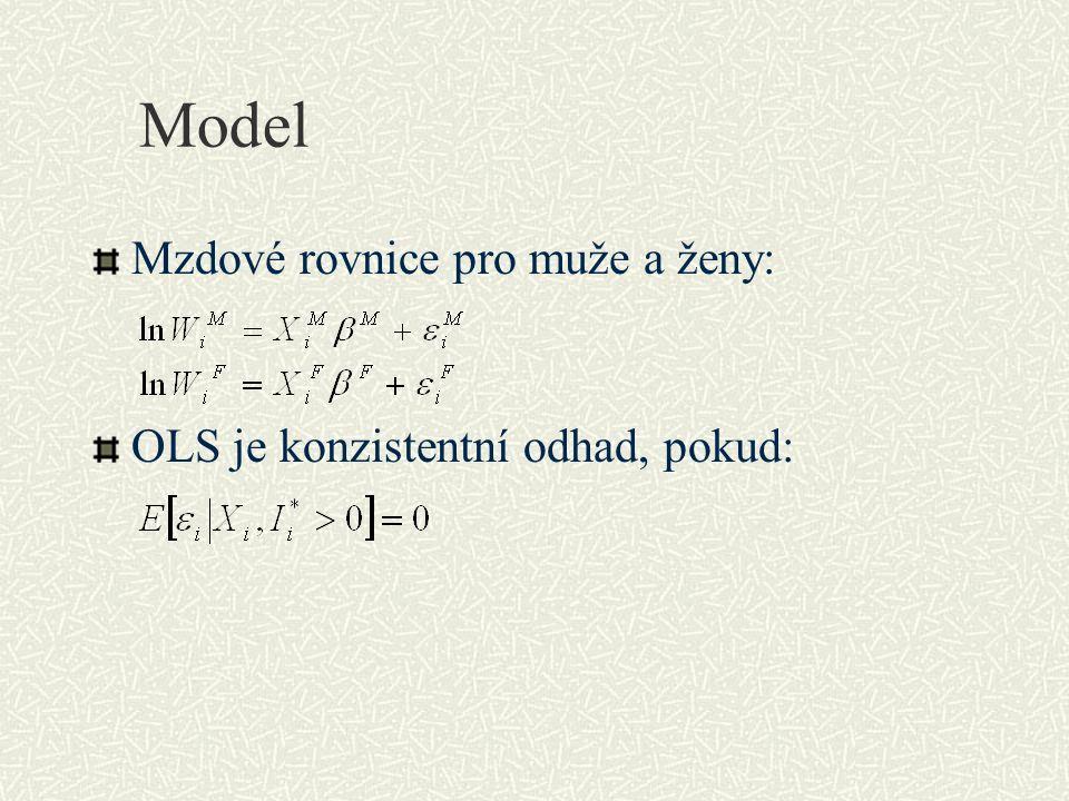 Model Mzdové rovnice pro muže a ženy: OLS je konzistentní odhad, pokud: