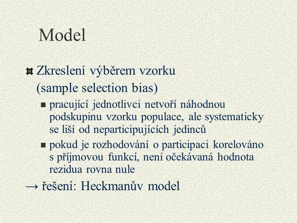 Model Zkreslení výběrem vzorku (sample selection bias) pracující jednotlivci netvoří náhodnou podskupinu vzorku populace, ale systematicky se liší od neparticipujících jedinců pokud je rozhodování o participaci korelováno s příjmovou funkcí, není očekávaná hodnota rezidua rovna nule → řešení: Heckmanův model