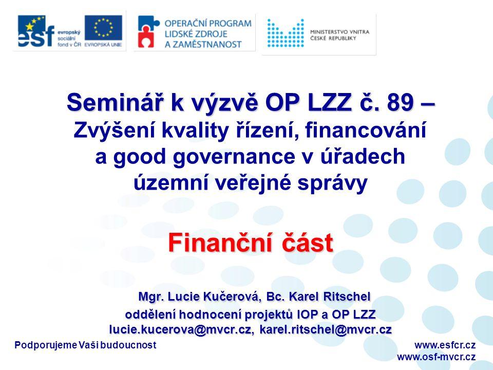 Podporujeme Vaši budoucnostwww.esfcr.cz www.osf-mvcr.cz Prostor pro Vaše dotazy