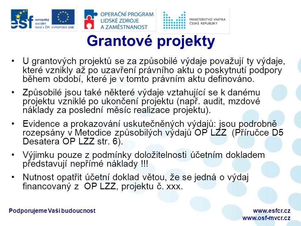Podporujeme Vaši budoucnostwww.esfcr.cz www.osf-mvcr.cz Grantové projekty U grantových projektů se za způsobilé výdaje považují ty výdaje, které vznikly až po uzavření právního aktu o poskytnutí podpory během období, které je v tomto právním aktu definováno.