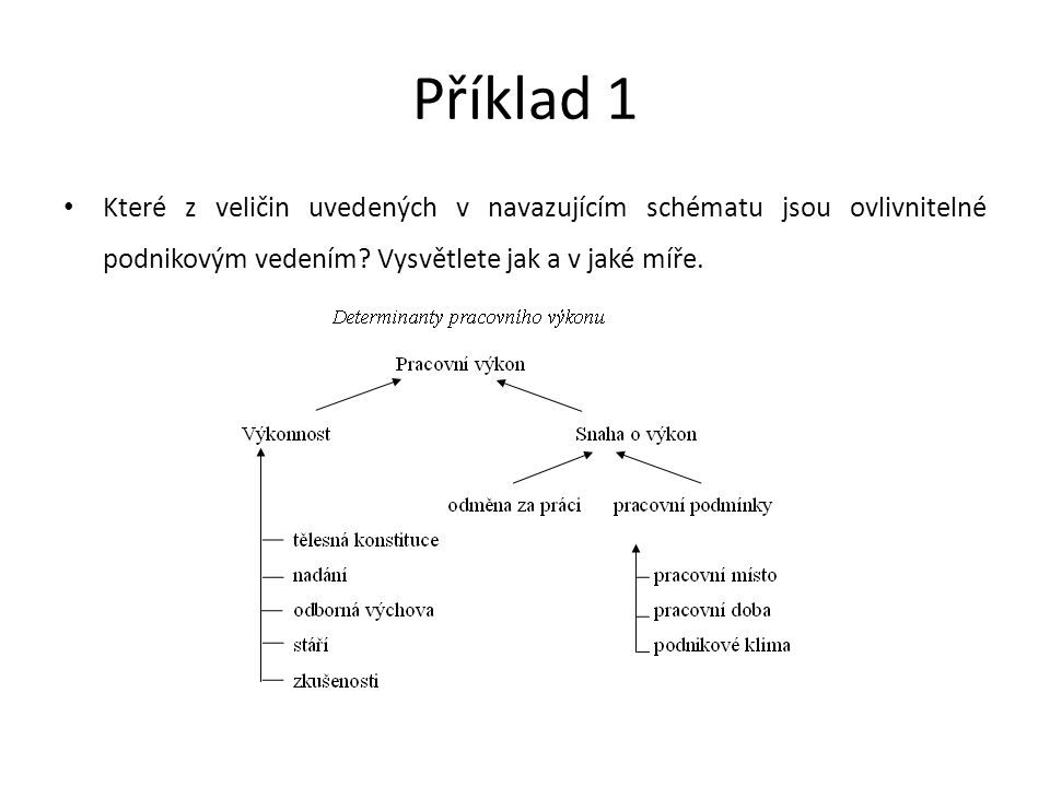 Příklad 1 Které z veličin uvedených v navazujícím schématu jsou ovlivnitelné podnikovým vedením.