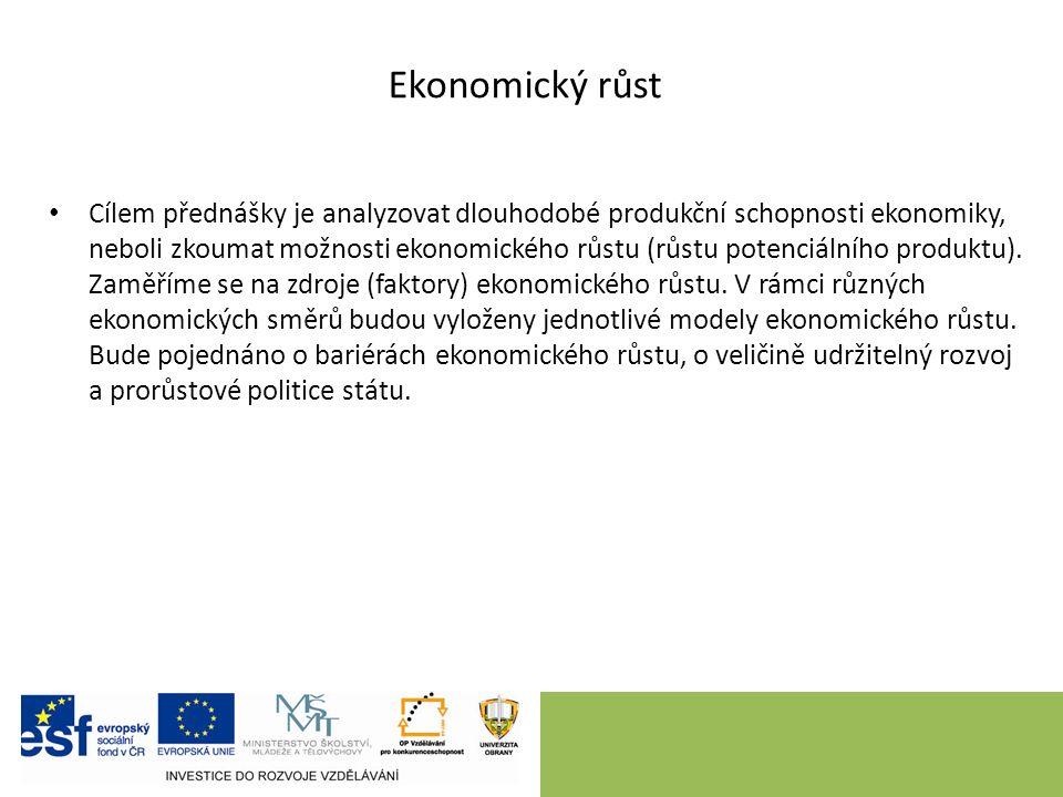 Obsah úvod – vymezení cílů definice ekonomického růstu zdroje (faktory) ekonomického růstu ekonomický růst a cenová stabilita (nestabilita) modely ekonomického růstu omezení – bariéry ekonomického růstu prorůstová hospodářská politika státu závěr – shrnutí, úkoly k samostudiu