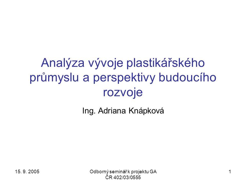 15. 9. 2005Odborný seminář k projektu GA ČR 402/03/0555 12
