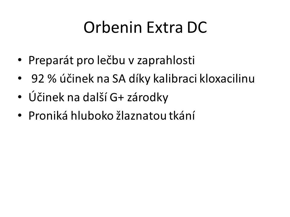 Orbenin Extra DC Preparát pro lečbu v zaprahlosti 92 % účinek na SA díky kalibraci kloxacilinu Účinek na další G+ zárodky Proniká hluboko žlaznatou tkání