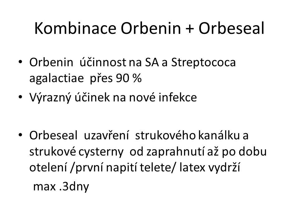 Kombinace Orbenin + Orbeseal Orbenin účinnost na SA a Streptococa agalactiae přes 90 % Výrazný účinek na nové infekce Orbeseal uzavření strukového kanálku a strukové cysterny od zaprahnutí až po dobu otelení /první napití telete/ latex vydrží max.3dny