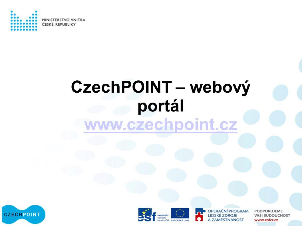 CzechPOINT – webový portál www.czechpoint.cz