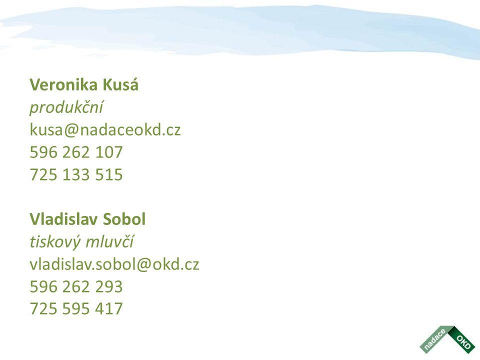 Veronika Kusá produkční kusa@nadaceokd.cz 596 262 107 725 133 515 Vladislav Sobol tiskový mluvčí vladislav.sobol@okd.cz 596 262 293 725 595 417