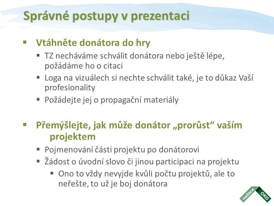"""Správné postupy v prezentaci  Vtáhněte donátora do hry  TZ necháváme schválit donátora nebo ještě lépe, požádáme ho o citaci  Loga na vizuálech si nechte schválit také, je to důkaz Vaší profesionality  Požádejte jej o propagační materiály  Přemýšlejte, jak může donátor """"prorůst vaším projektem  Pojmenování části projektu po donátorovi  Žádost o úvodní slovo či jinou participaci na projektu  Ono to vždy nevyjde kvůli počtu projektů, ale to neřešte, to už je boj donátora"""