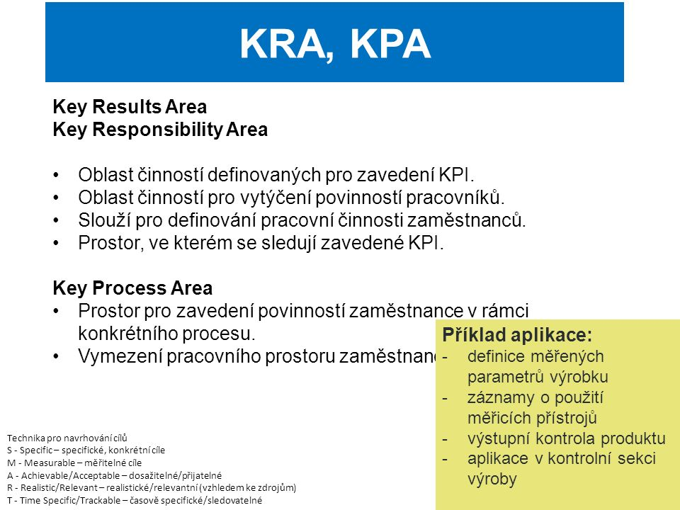 Key Results Area Key Responsibility Area Oblast činností definovaných pro zavedení KPI.