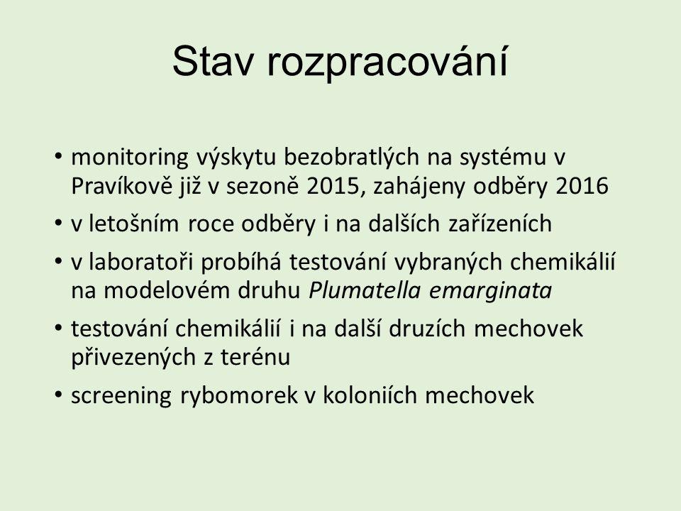 Stav rozpracování monitoring výskytu bezobratlých na systému v Pravíkově již v sezoně 2015, zahájeny odběry 2016 v letošním roce odběry i na dalších zařízeních v laboratoři probíhá testování vybraných chemikálií na modelovém druhu Plumatella emarginata testování chemikálií i na další druzích mechovek přivezených z terénu screening rybomorek v koloniích mechovek