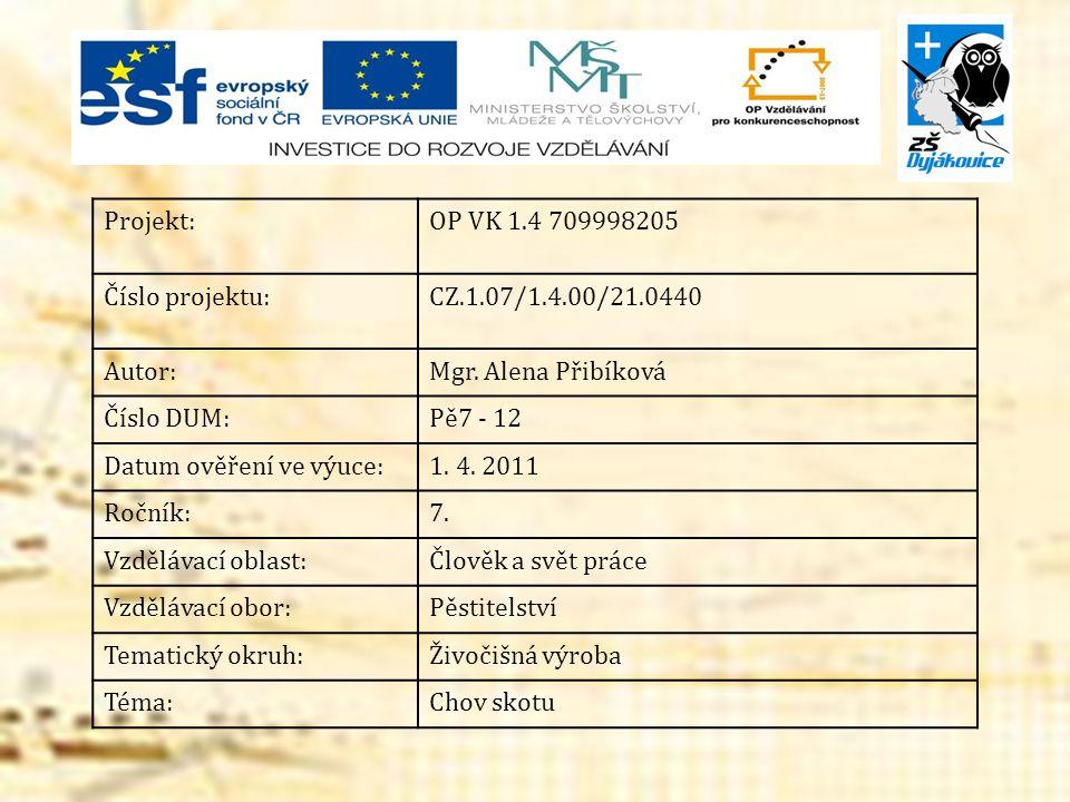 Projekt:OP VK 1.4 709998205 Číslo projektu:CZ.1.07/1.4.00/21.0440 Autor:Mgr. Alena Přibíková Číslo DUM:Pě7 - 12 Datum ověření ve výuce:1. 4. 2011 Ročn