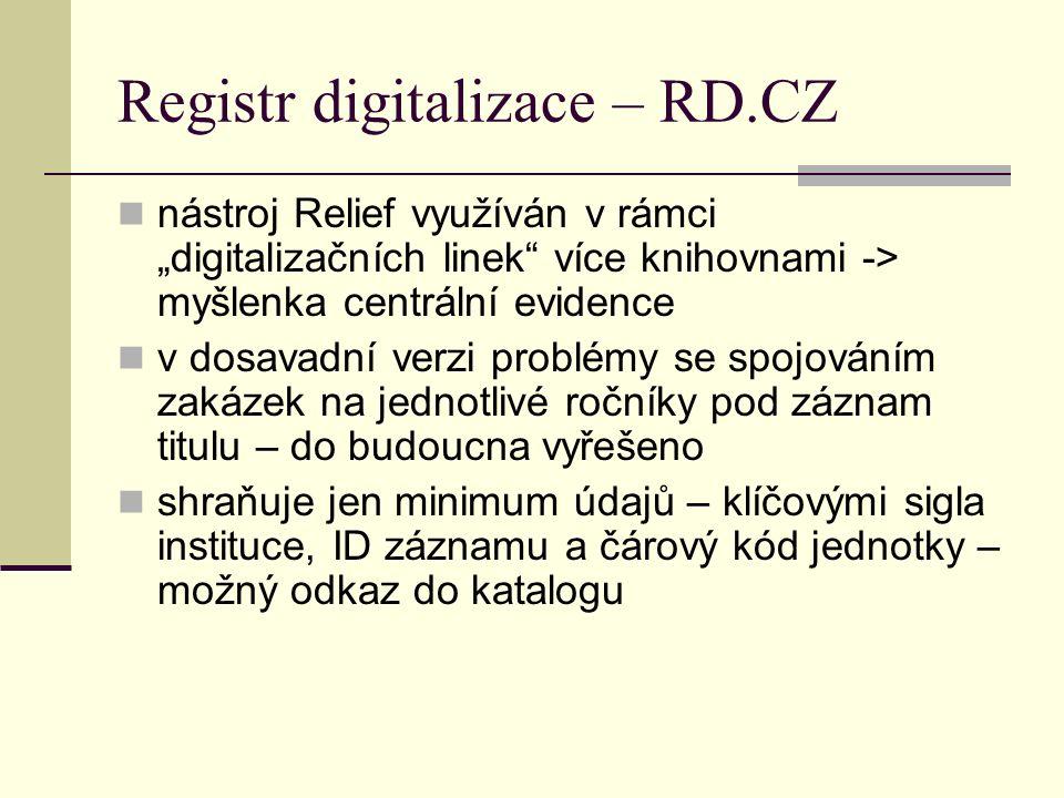 """Registr digitalizace – RD.CZ nástroj Relief využíván v rámci """"digitalizačních linek více knihovnami -> myšlenka centrální evidence v dosavadní verzi problémy se spojováním zakázek na jednotlivé ročníky pod záznam titulu – do budoucna vyřešeno shraňuje jen minimum údajů – klíčovými sigla instituce, ID záznamu a čárový kód jednotky – možný odkaz do katalogu"""