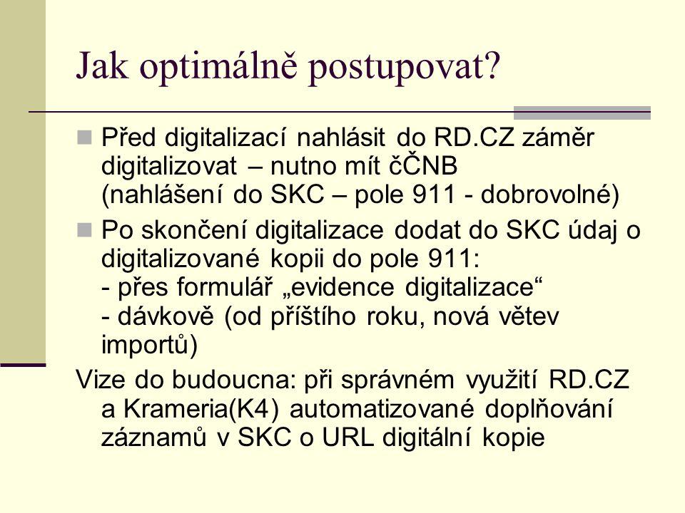 Jak optimálně postupovat? Před digitalizací nahlásit do RD.CZ záměr digitalizovat – nutno mít čČNB (nahlášení do SKC – pole 911 - dobrovolné) Po skonč