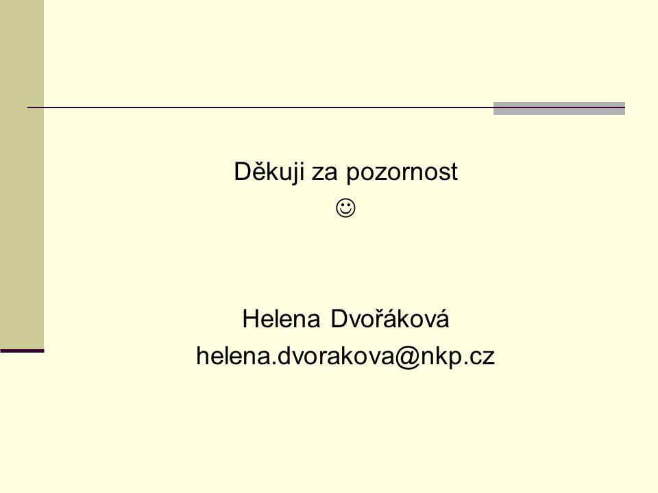 Děkuji za pozornost Helena Dvořáková helena.dvorakova@nkp.cz