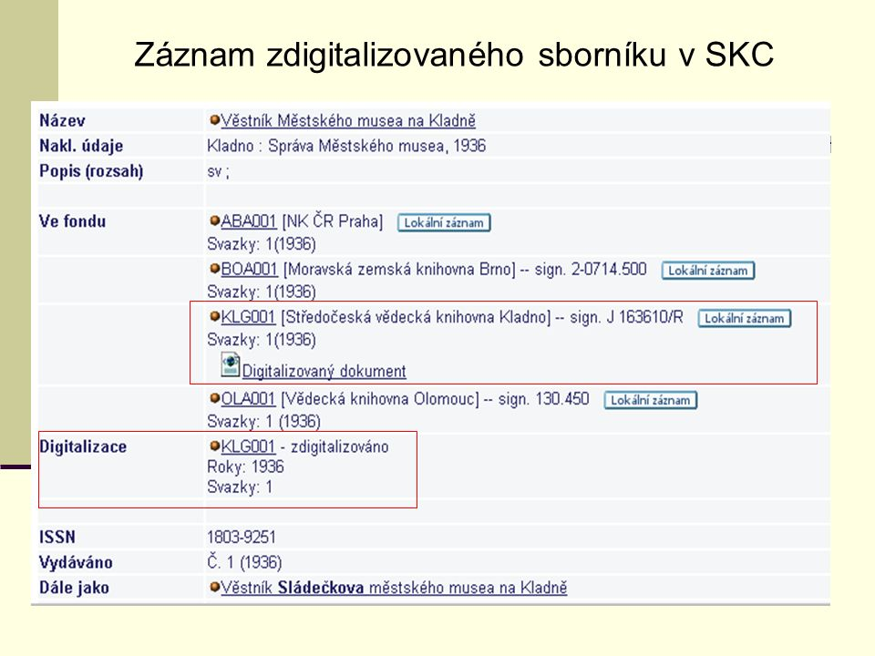Záznam zdigitalizovaného sborníku v SKC