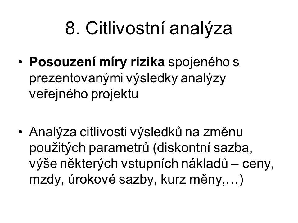8. Citlivostní analýza Posouzení míry rizika spojeného s prezentovanými výsledky analýzy veřejného projektu Analýza citlivosti výsledků na změnu použi