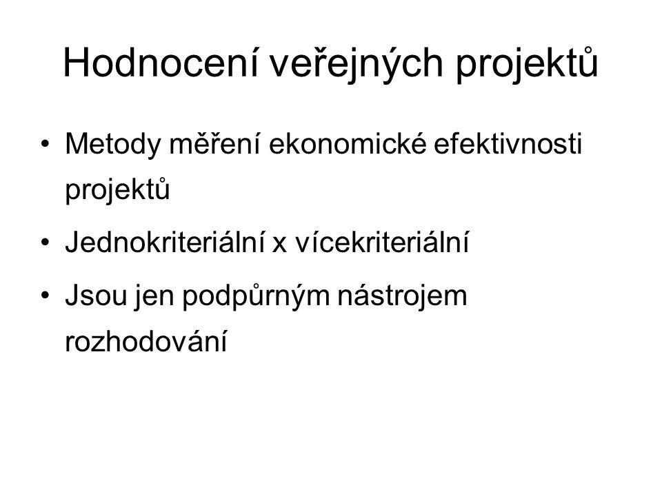 Hodnocení veřejných projektů Metody měření ekonomické efektivnosti projektů Jednokriteriální x vícekriteriální Jsou jen podpůrným nástrojem rozhodování