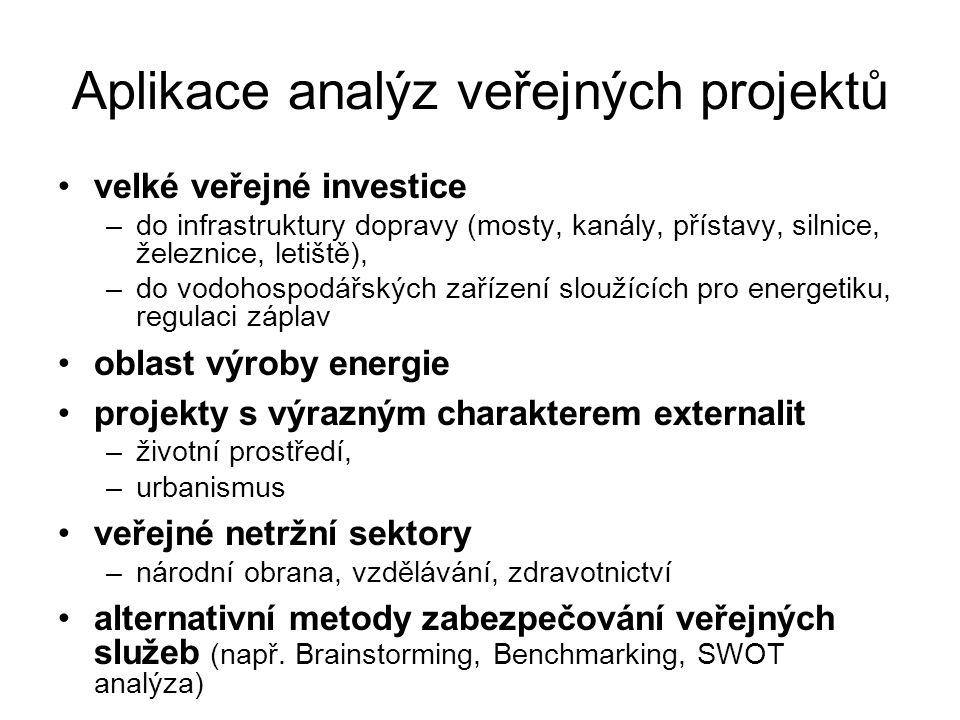 Aplikace analýz veřejných projektů velké veřejné investice –do infrastruktury dopravy (mosty, kanály, přístavy, silnice, železnice, letiště), –do vodo