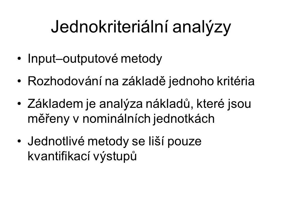 Jednokriteriální analýzy Input–outputové metody Rozhodování na základě jednoho kritéria Základem je analýza nákladů, které jsou měřeny v nominálních jednotkách Jednotlivé metody se liší pouze kvantifikací výstupů