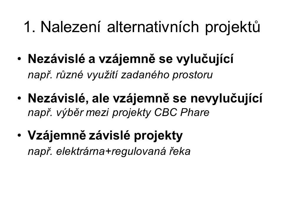 1. Nalezení alternativních projektů Nezávislé a vzájemně se vylučující např.