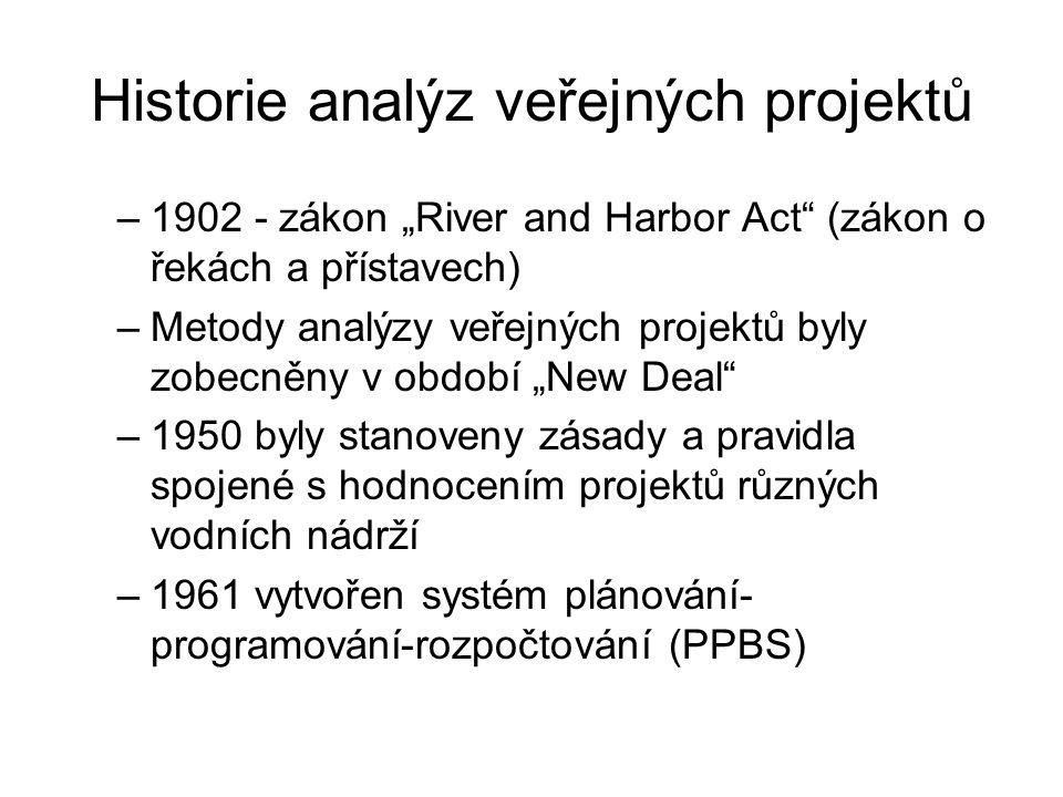 """Historie analýz veřejných projektů –1902 - zákon """"River and Harbor Act (zákon o řekách a přístavech) –Metody analýzy veřejných projektů byly zobecněny v období """"New Deal –1950 byly stanoveny zásady a pravidla spojené s hodnocením projektů různých vodních nádrží –1961 vytvořen systém plánování- programování-rozpočtování (PPBS)"""