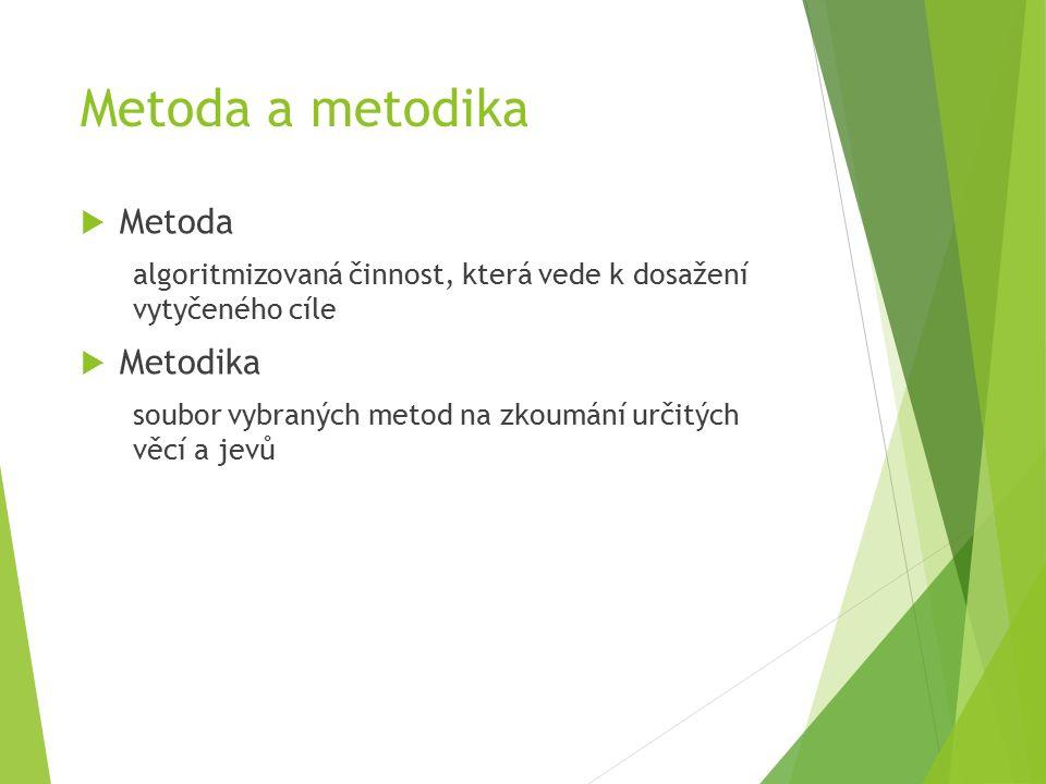 Metoda a metodika  Metoda algoritmizovaná činnost, která vede k dosažení vytyčeného cíle  Metodika soubor vybraných metod na zkoumání určitých věcí a jevů