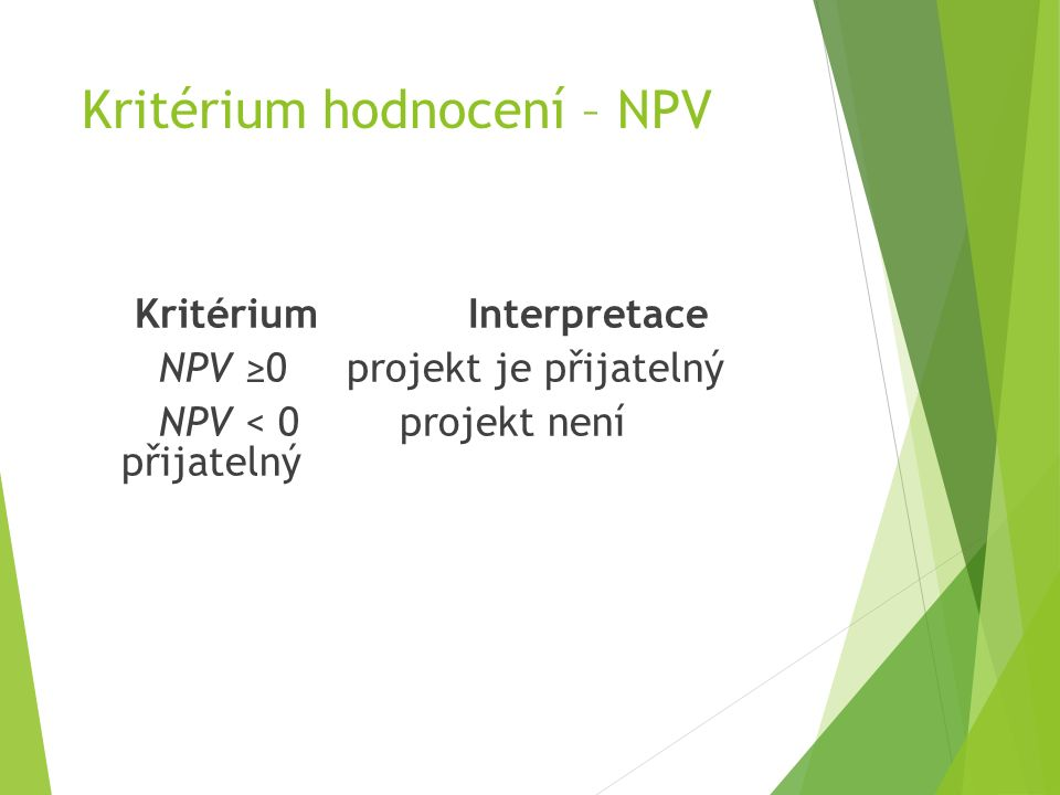 Kritérium hodnocení – NPV Kritérium Interpretace NPV ≥0projekt je přijatelný NPV < 0projekt není přijatelný