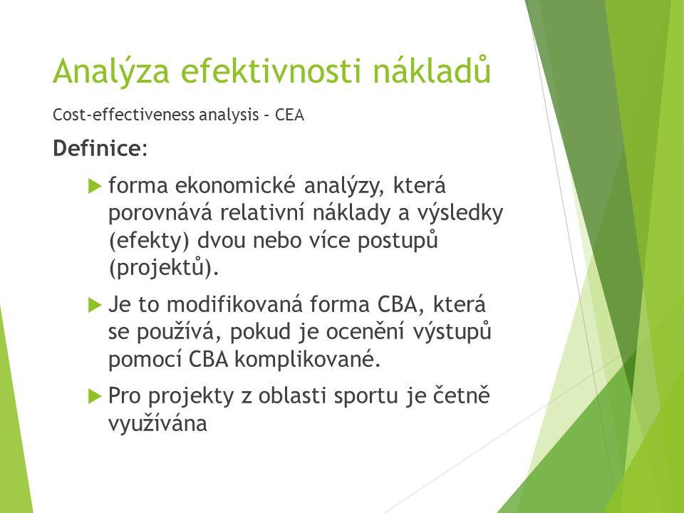 Analýza efektivnosti nákladů Cost-effectiveness analysis – CEA Definice:  forma ekonomické analýzy, která porovnává relativní náklady a výsledky (efekty) dvou nebo více postupů (projektů).