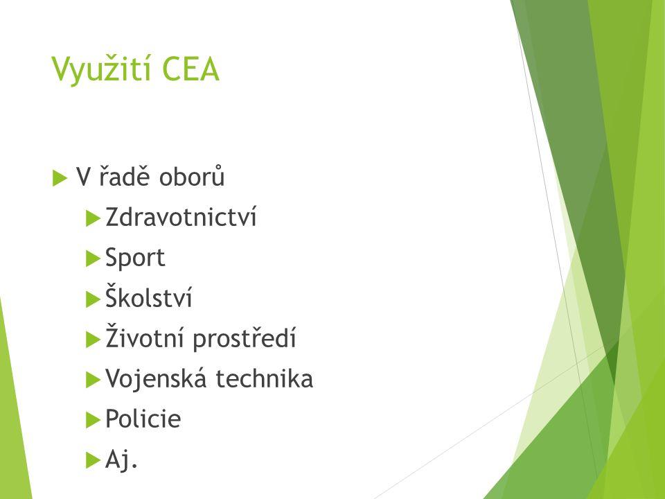 Využití CEA  V řadě oborů  Zdravotnictví  Sport  Školství  Životní prostředí  Vojenská technika  Policie  Aj.