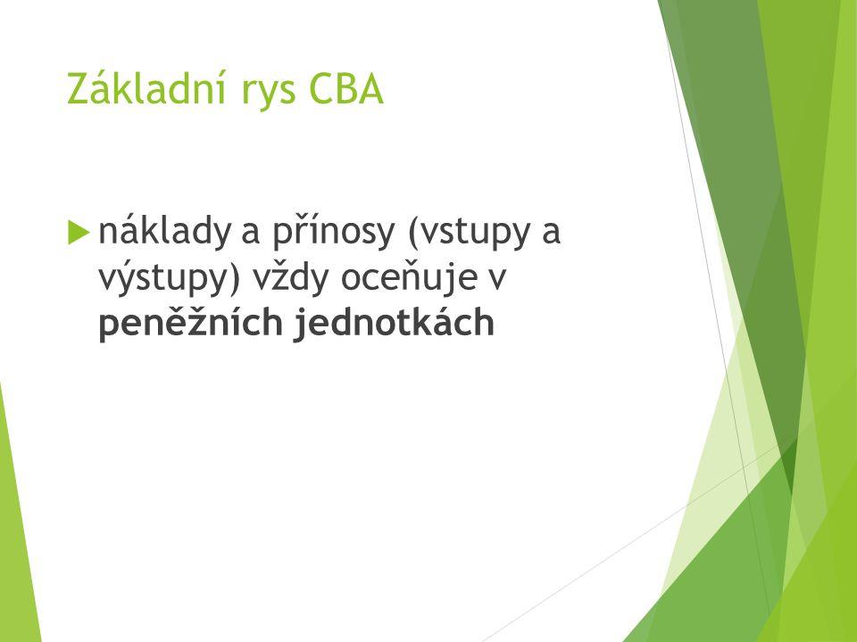 Základní rys CBA  náklady a přínosy (vstupy a výstupy) vždy oceňuje v peněžních jednotkách