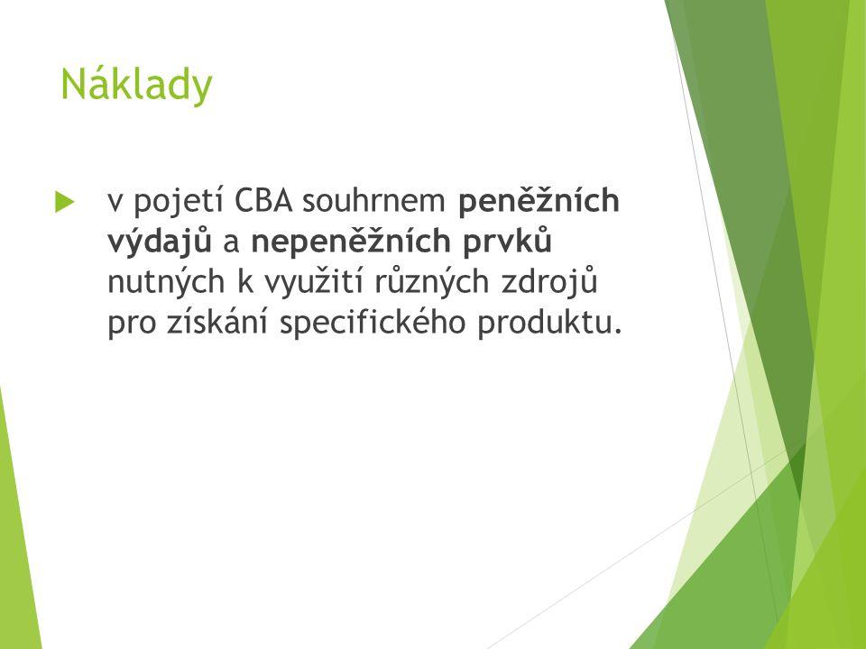Náklady  v pojetí CBA souhrnem peněžních výdajů a nepeněžních prvků nutných k využití různých zdrojů pro získání specifického produktu.