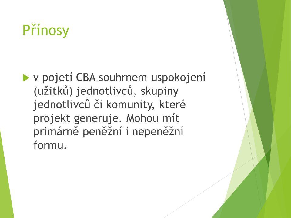 Přínosy  v pojetí CBA souhrnem uspokojení (užitků) jednotlivců, skupiny jednotlivců či komunity, které projekt generuje.