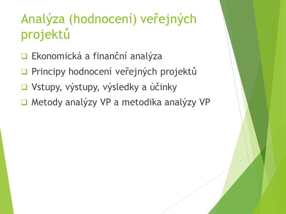 Analýza (hodnocení) veřejných projektů  Ekonomická a finanční analýza  Principy hodnocení veřejných projektů  Vstupy, výstupy, výsledky a účinky  Metody analýzy VP a metodika analýzy VP