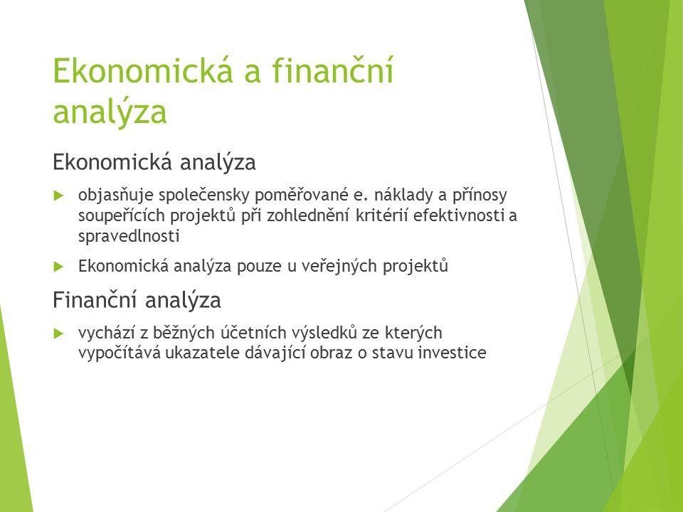 Ekonomická a finanční analýza Ekonomická analýza  objasňuje společensky poměřované e.