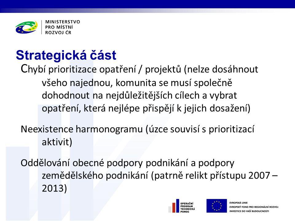 C hybí prioritizace opatření / projektů (nelze dosáhnout všeho najednou, komunita se musí společně dohodnout na nejdůležitějších cílech a vybrat opatření, která nejlépe přispějí k jejich dosažení) Neexistence harmonogramu (úzce souvisí s prioritizací aktivit) Oddělování obecné podpory podnikání a podpory zemědělského podnikání (patrně relikt přístupu 2007 – 2013) Strategická část