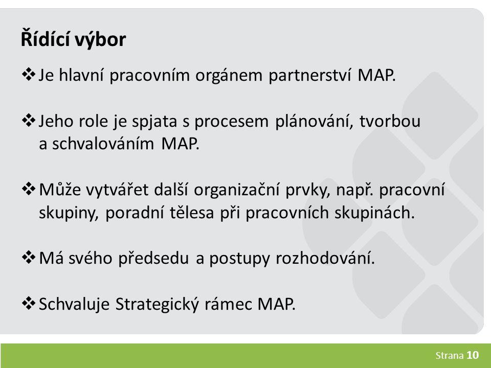 Strana 10 Řídící výbor  Je hlavní pracovním orgánem partnerství MAP.