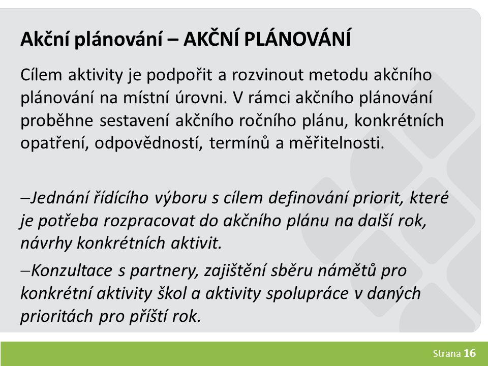 Strana 16 Akční plánování – AKČNÍ PLÁNOVÁNÍ Cílem aktivity je podpořit a rozvinout metodu akčního plánování na místní úrovni.