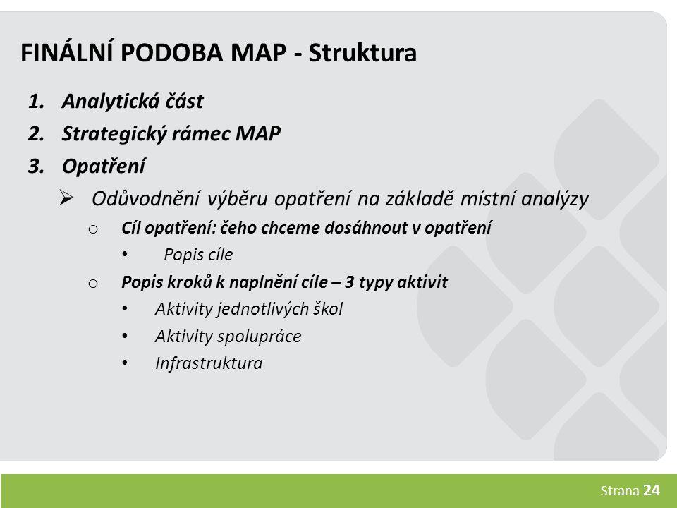 Strana 24 FINÁLNÍ PODOBA MAP - Struktura 1.Analytická část 2.Strategický rámec MAP 3.Opatření  Odůvodnění výběru opatření na základě místní analýzy o Cíl opatření: čeho chceme dosáhnout v opatření Popis cíle o Popis kroků k naplnění cíle – 3 typy aktivit Aktivity jednotlivých škol Aktivity spolupráce Infrastruktura