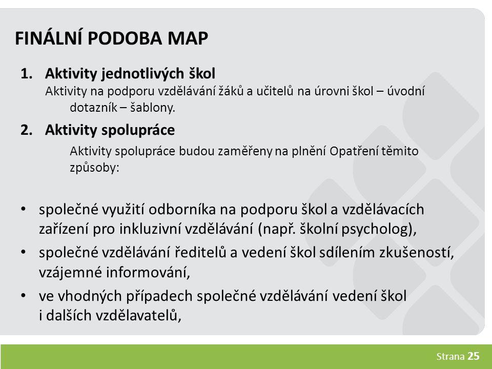 Strana 25 FINÁLNÍ PODOBA MAP 1.Aktivity jednotlivých škol Aktivity na podporu vzdělávání žáků a učitelů na úrovni škol – úvodní dotazník – šablony.
