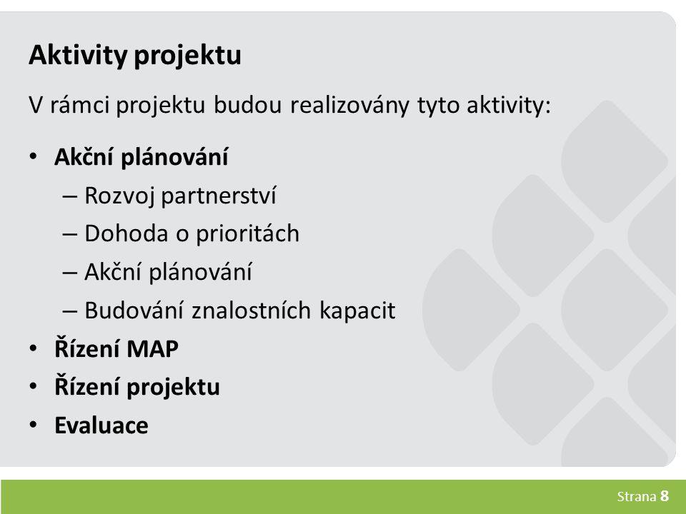 Strana 8 Aktivity projektu V rámci projektu budou realizovány tyto aktivity: Akční plánování – Rozvoj partnerství – Dohoda o prioritách – Akční plánování – Budování znalostních kapacit Řízení MAP Řízení projektu Evaluace