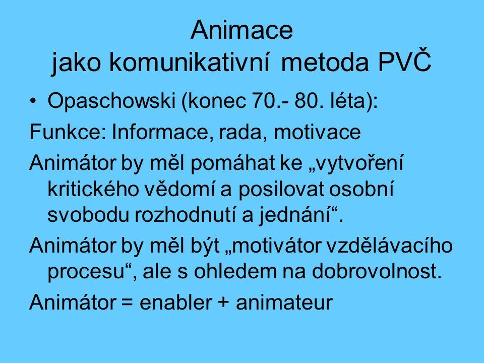 """Pojem animace Pojetí animace: Animace jako užívání technik a her usnadňujících komunikaci """"Turistická animace Divadelní (Litva, Itálie, Rakousko) Sociálně-kulturní (politická) animace Animace jako výchovná metoda –Animace jako metoda PVČ –Kulturní animace"""