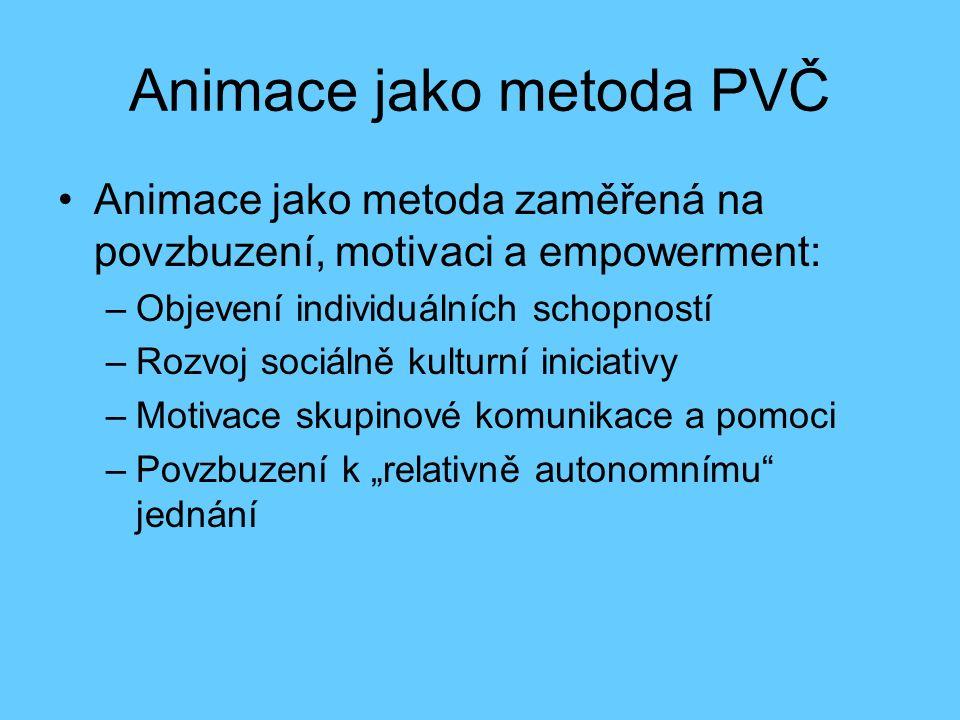 Animace jako komunikativní metoda PVČ Opaschowski (konec 70.- 80.