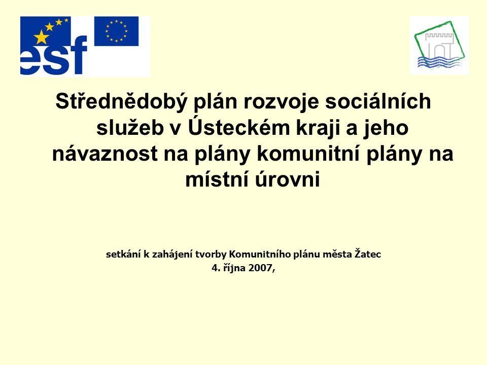 Střednědobý plán rozvoje sociálních služeb v Ústeckém kraji a jeho návaznost na plány komunitní plány na místní úrovni setkání k zahájení tvorby Komunitního plánu města Žatec 4.