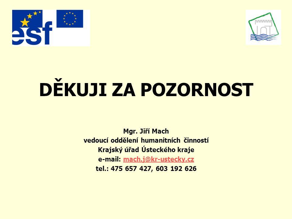 DĚKUJI ZA POZORNOST Mgr. Jiří Mach vedoucí oddělení humanitních činností Krajský úřad Ústeckého kraje e-mail: mach.j@kr-ustecky.czmach.j@kr-ustecky.cz