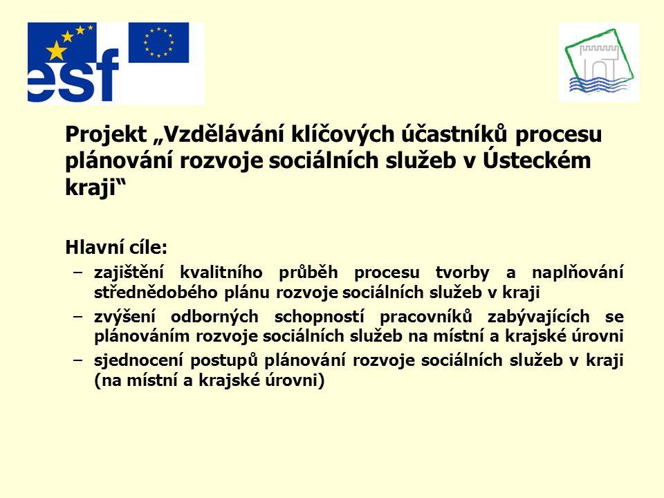 """Projekt """"Vzdělávání klíčových účastníků procesu plánování rozvoje sociálních služeb v Ústeckém kraji"""" Hlavní cíle: –zajištění kvalitního průběh proces"""