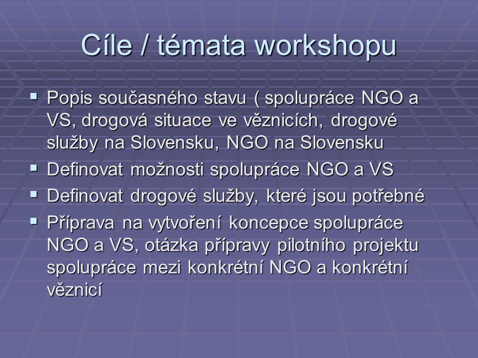 Cíle / témata workshopu  Popis současného stavu ( spolupráce NGO a VS, drogová situace ve věznicích, drogové služby na Slovensku, NGO na Slovensku 