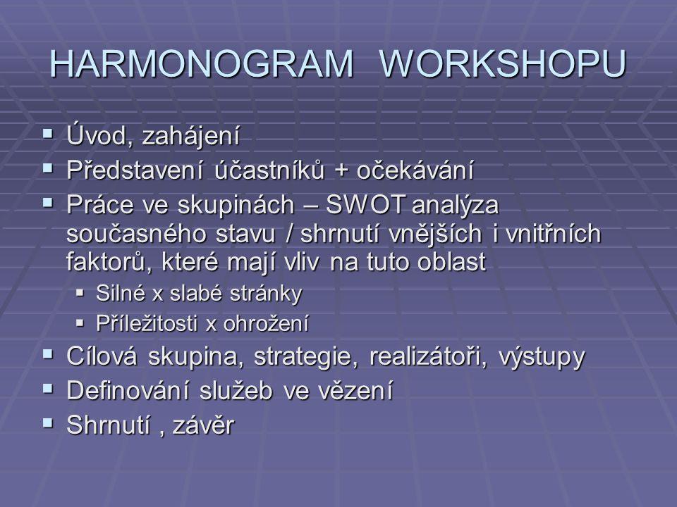 HARMONOGRAM WORKSHOPU  Úvod, zahájení  Představení účastníků + očekávání  Práce ve skupinách – SWOT analýza současného stavu / shrnutí vnějších i v