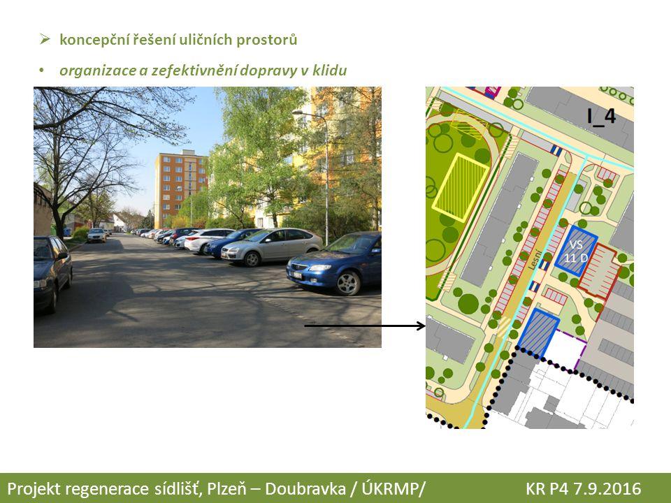  koncepční řešení uličních prostorů organizace a zefektivnění dopravy v klidu Projekt regenerace sídlišť, Plzeň – Doubravka / ÚKRMP/ KR P4 7.9.2016