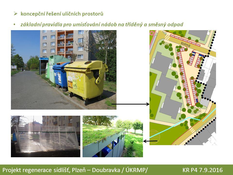  koncepční řešení uličních prostorů základní pravidla pro umisťování nádob na tříděný a směsný odpad Projekt regenerace sídlišť, Plzeň – Doubravka / ÚKRMP/ KR P4 7.9.2016