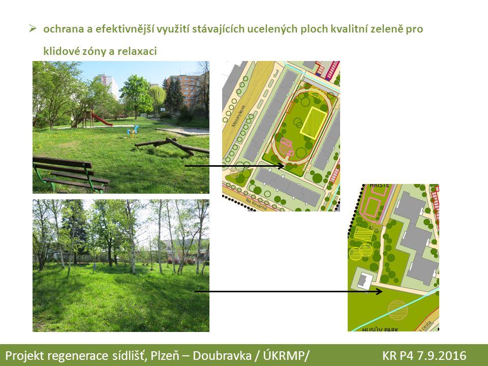  ochrana a efektivnější využití stávajících ucelených ploch kvalitní zeleně pro klidové zóny a relaxaci Projekt regenerace sídlišť, Plzeň – Doubravka